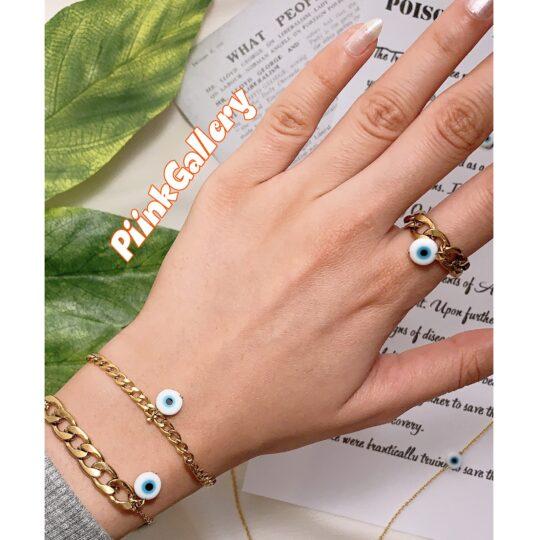 انگشتر و دستبند نیمه کارتیر چشم نظر