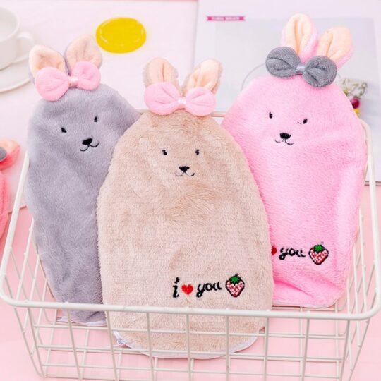 کیسه آب گرم با رویه مخملی طرح خرگوش