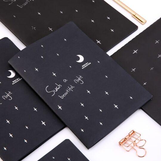 دفتر برگ مشکی طرح ماه و ستاره